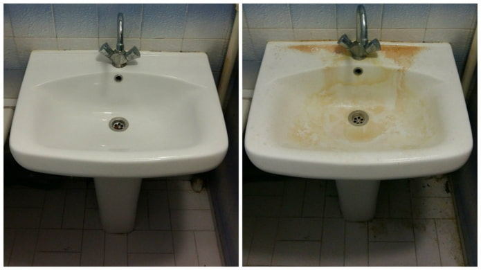 Évier avant et après le nettoyage avec Whiteness