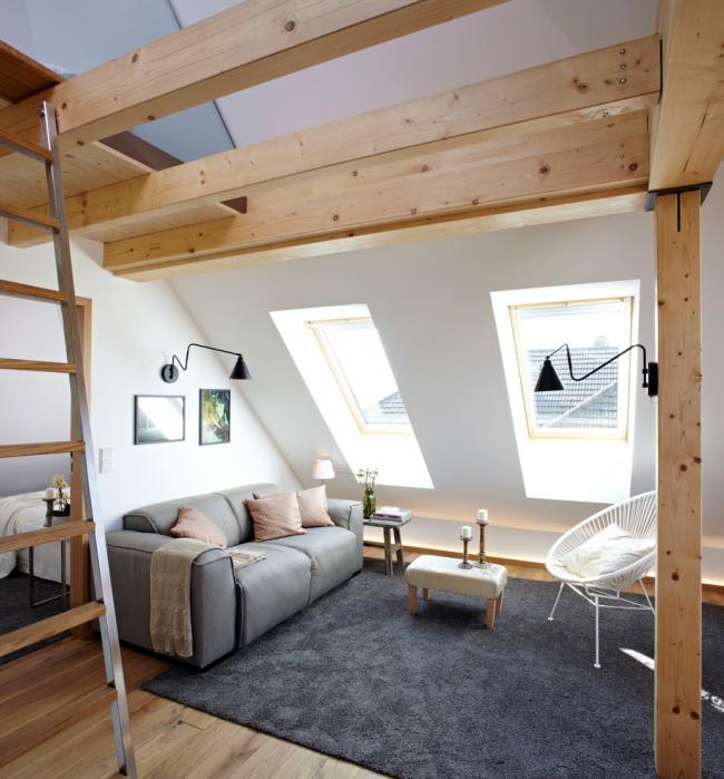 Canapé-lit en cuir dans le design du salon