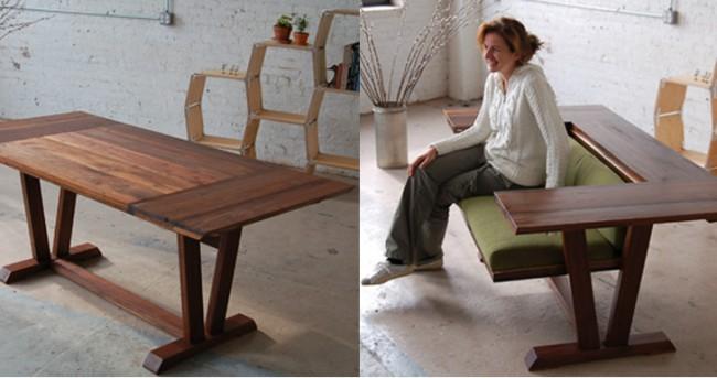 Table à manger-canapé avec une partie pivotante des deux côtés du plateau de table