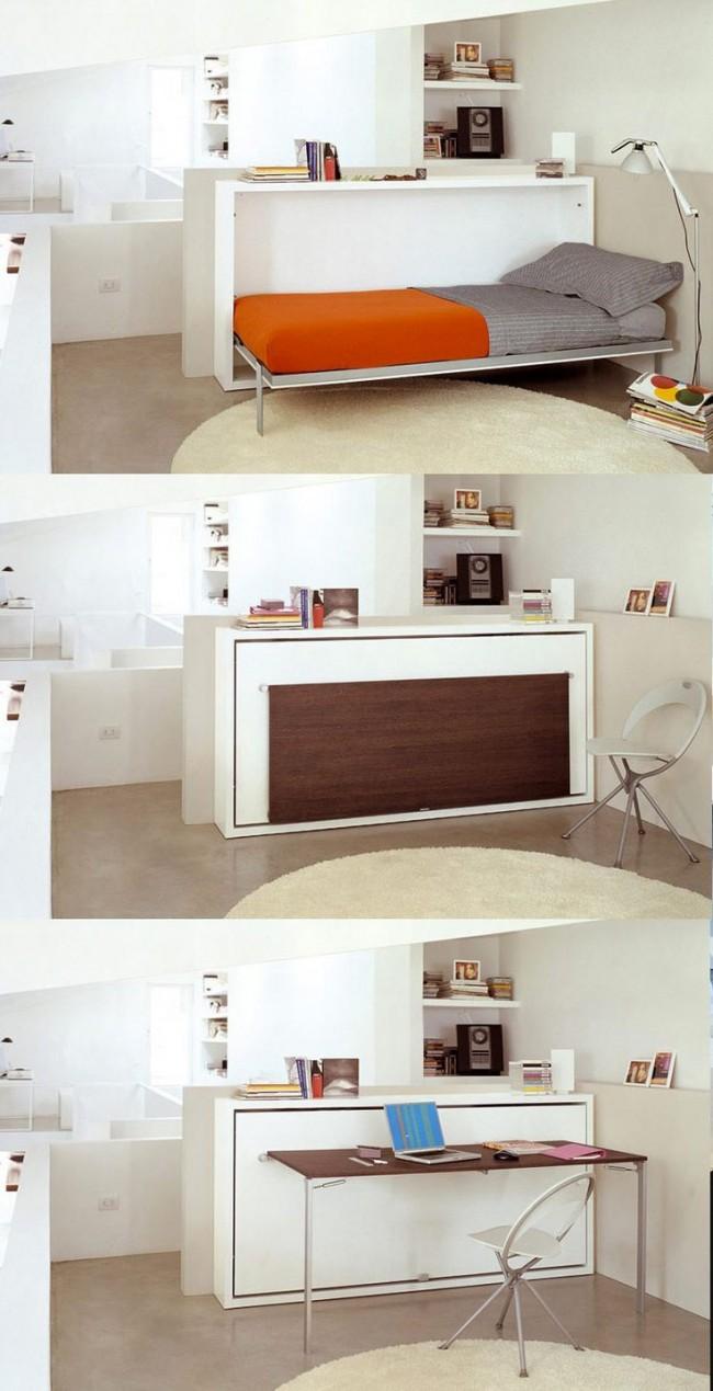 Un lit simple et un bureau deux en un - idéal pour une chambre d'enfant ou un petit logement étudiant