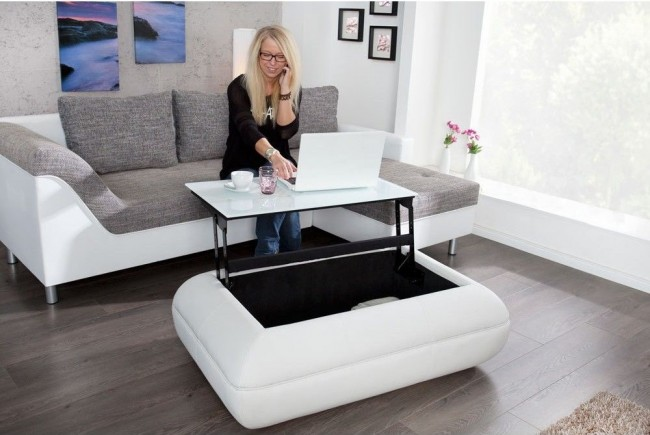Table de salon trois en un : espace de rangement, table basse et table de travail