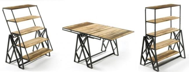 Table à étagères avec mécanisme de transformation rotatif