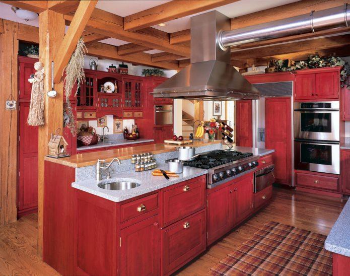 meubles en bois massif dans une cuisine spacieuse