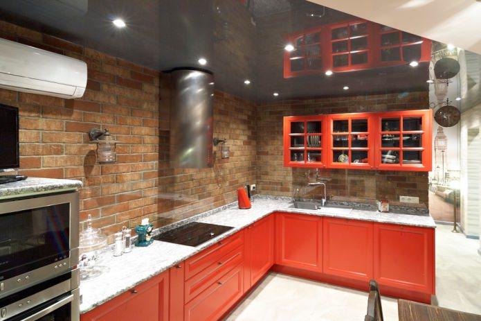 tablier de cuisine en brique rouge