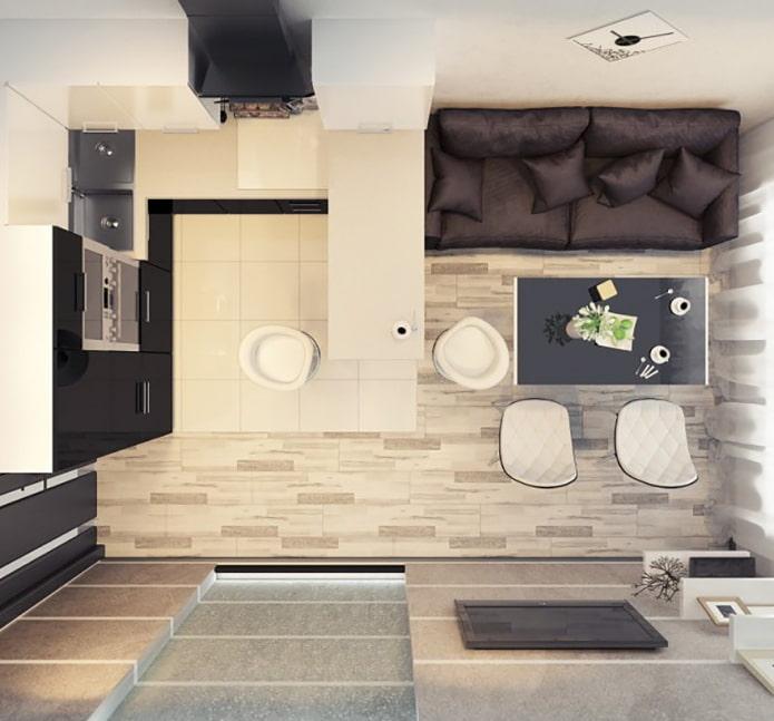 Plan cuisine-salon avec comptoir bar