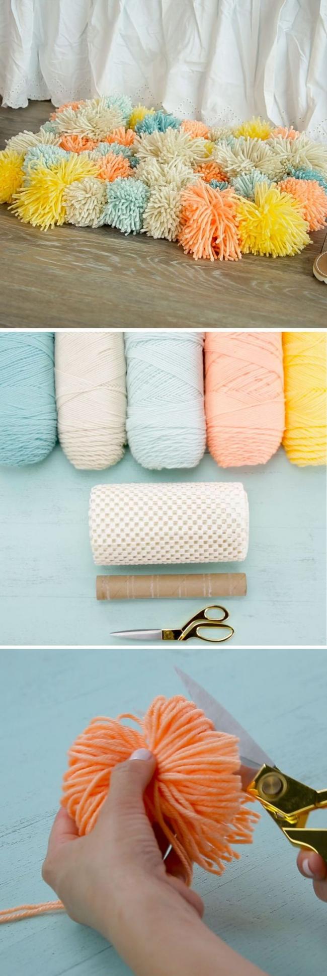 Une petite classe de maître sur la fabrication rapide et très pratique de pompons, à partir de laquelle vous pouvez également faire un tapis insolite