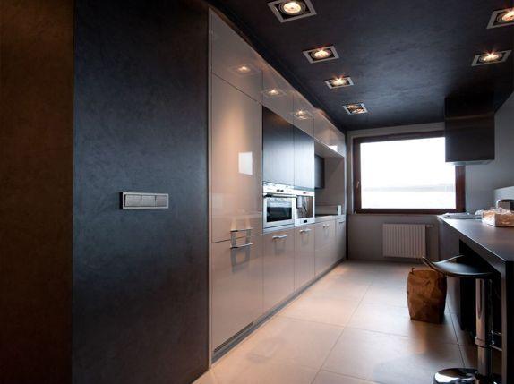 Cuisine luxueuse et élégante avec de beaux murs sombres