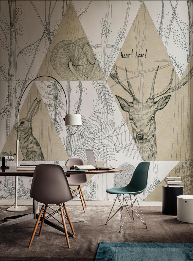 Une solution originale pour décorer l'espace de travail avec des dessins graphiques sur tout le mur