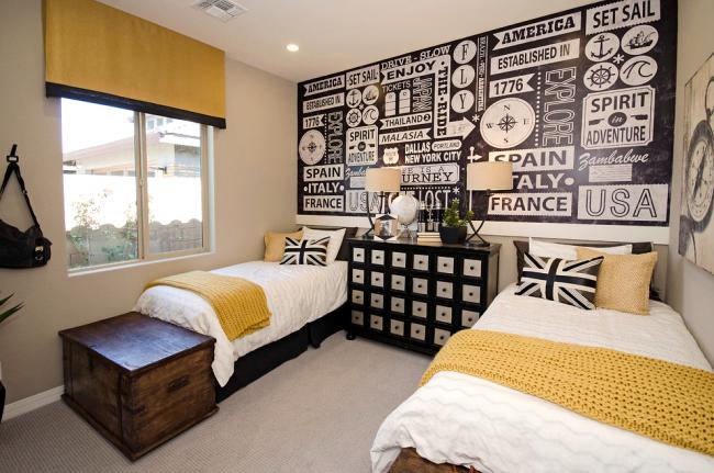 Grande combinaison de jaune et de noir dans la conception de la chambre