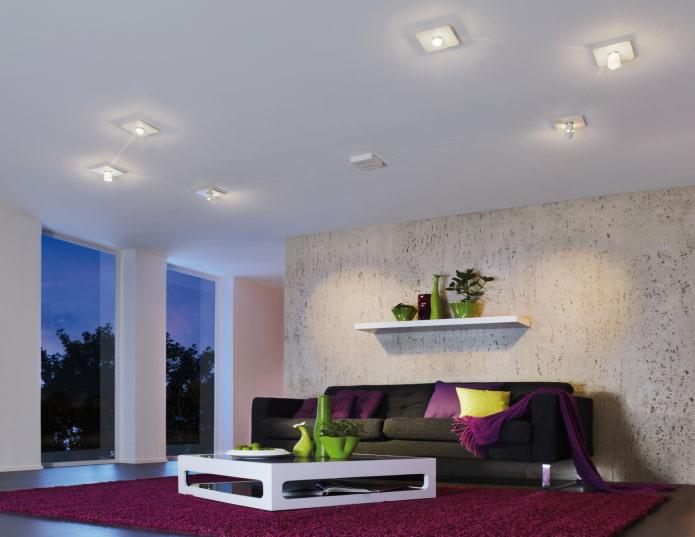 plafond avec lampes à l'intérieur