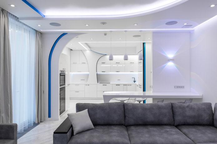 conception à deux niveaux avec éclairage à l'intérieur
