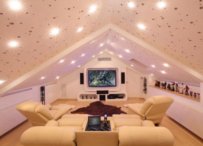 spots au plafond dans le grenier