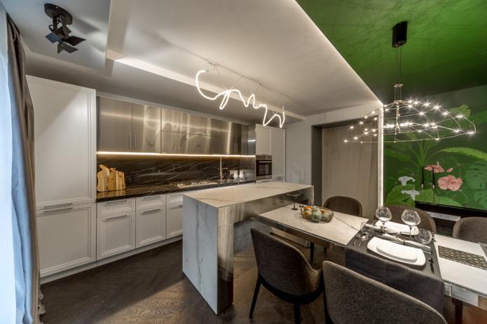 plafond tendu avec éclairage zoné dans la cuisine