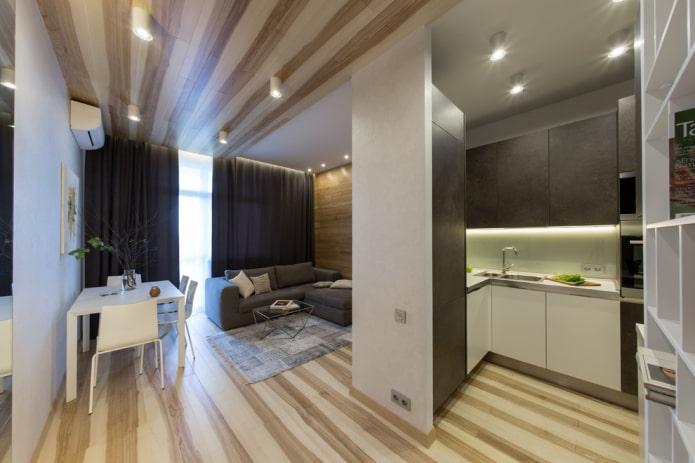 conception de cuisine-salon rectangulaire