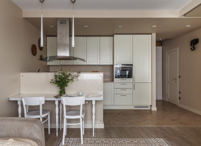 zonage de la cuisine-salon d'une superficie de 30 carrés