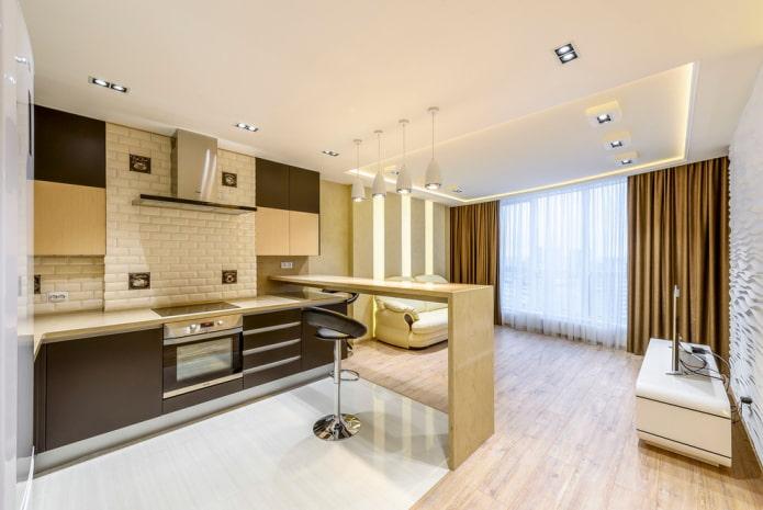 aménagement de l'intérieur de la cuisine-salon