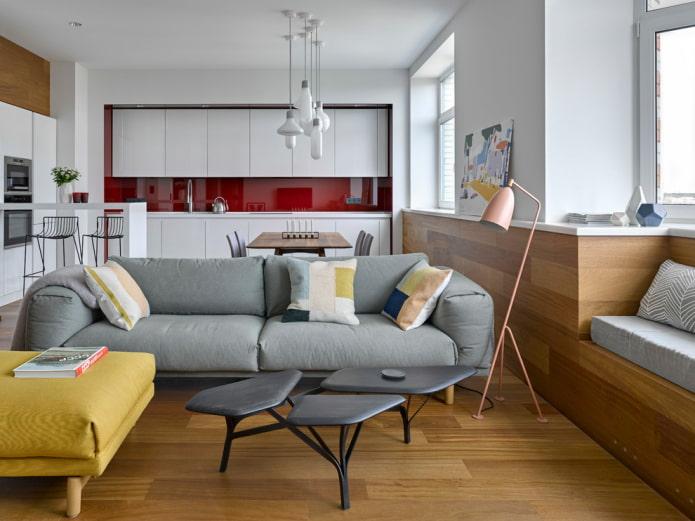 disposition des meubles à l'intérieur de la cuisine-salon