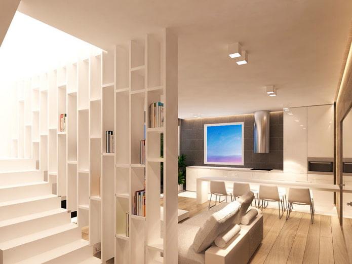 cloison en plaques de plâtre avec escalier à l'intérieur