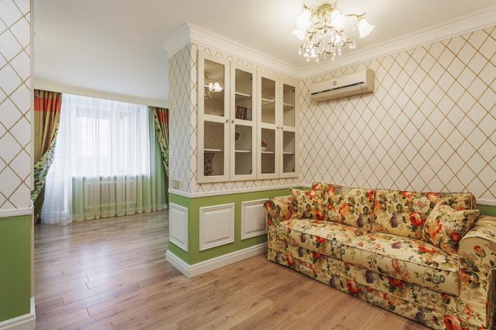 cloison en plaques de plâtre à l'intérieur du salon