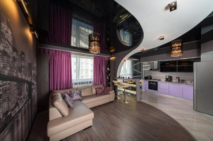 plafond combiné dans le salon