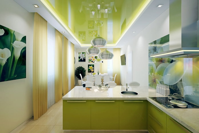 structure de tension bicolore dans la cuisine
