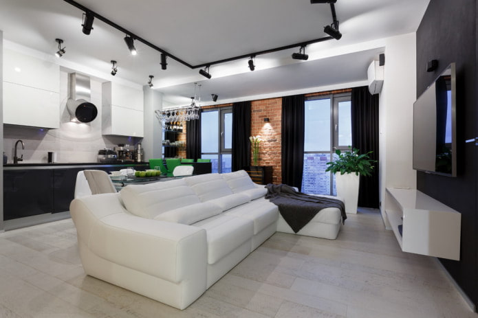 rideaux noirs canapé blanc