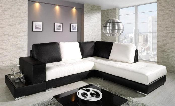 Canapé noir et blanc