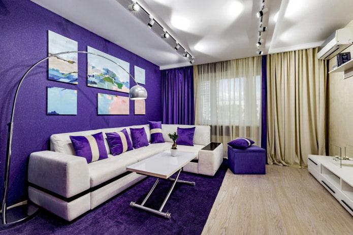 canapé blanc papier peint violet