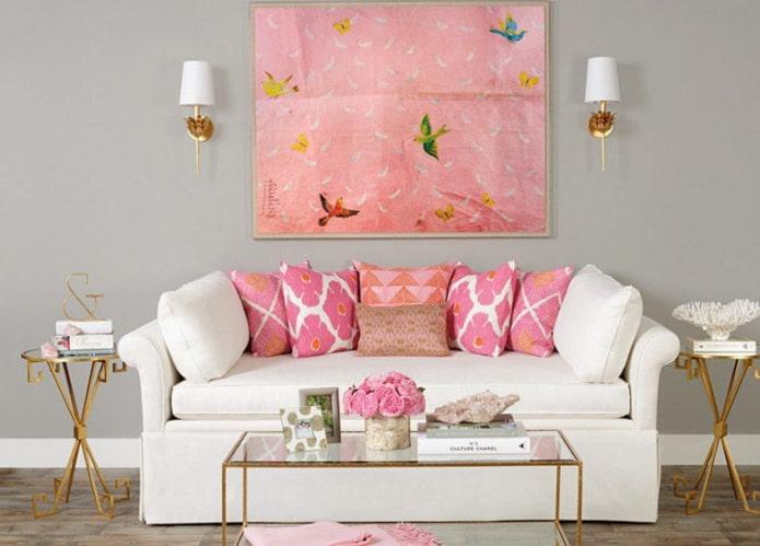 Petit canapé blanc et rose