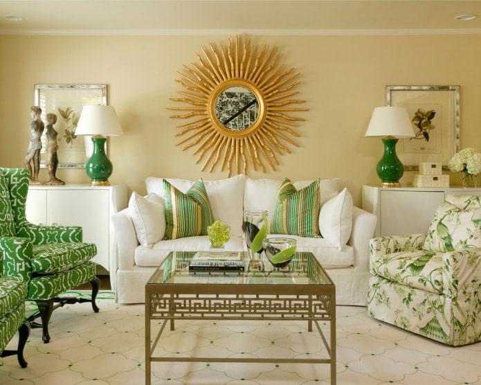 Canapé blanc et vert