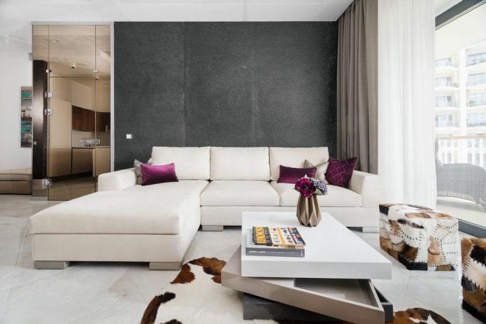 salon élégant avec canapé blanc