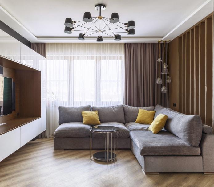 canapé d'angle avec coussins jaunes