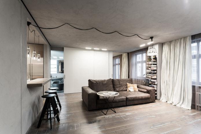 canapé en cuir dans un intérieur de style loft