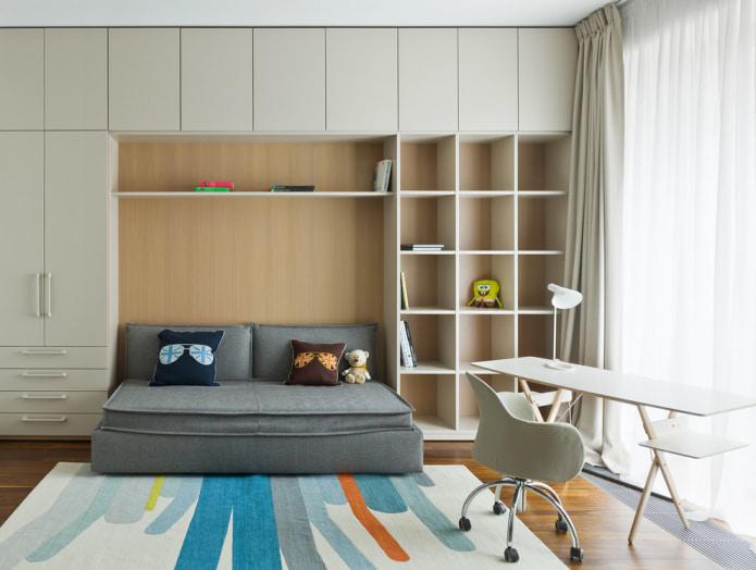 chambre d'enfant avec canapé-lit