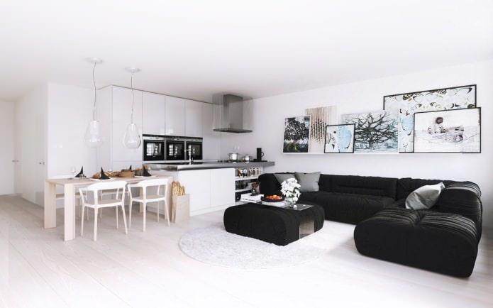 Cuisine-salon en blanc