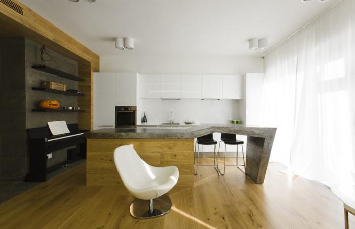 plafond mat dans la cuisine
