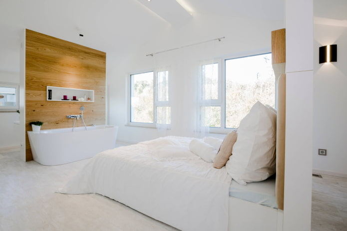 Salle de bain dans une chambre minimaliste