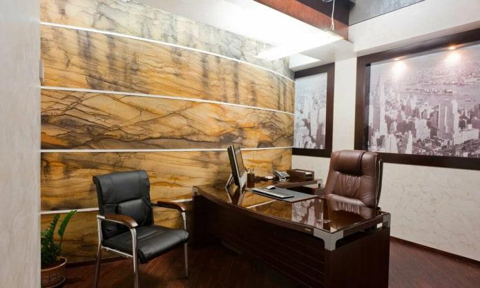 murs de pierre dans le bureau