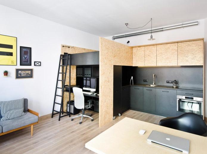 Lit mezzanine en studio