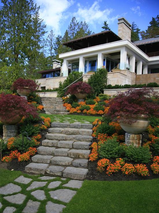 escaliers en pierre à la maison