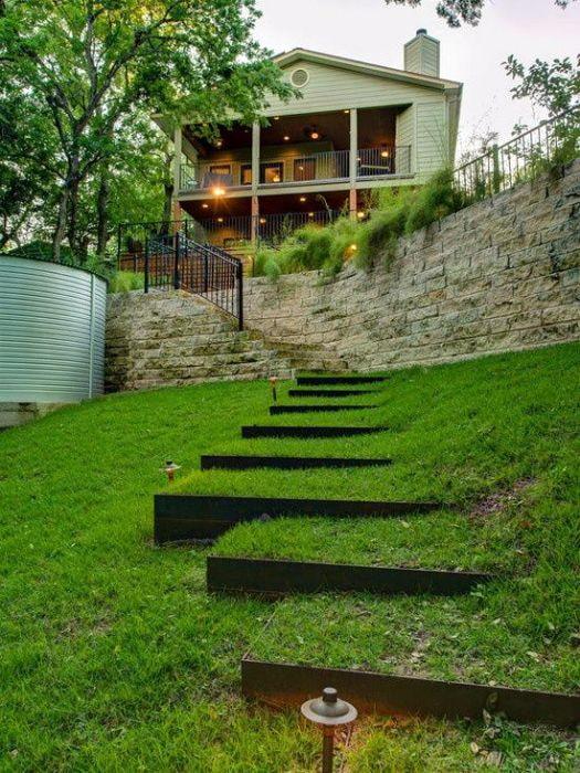 terrasse avec murs en bois