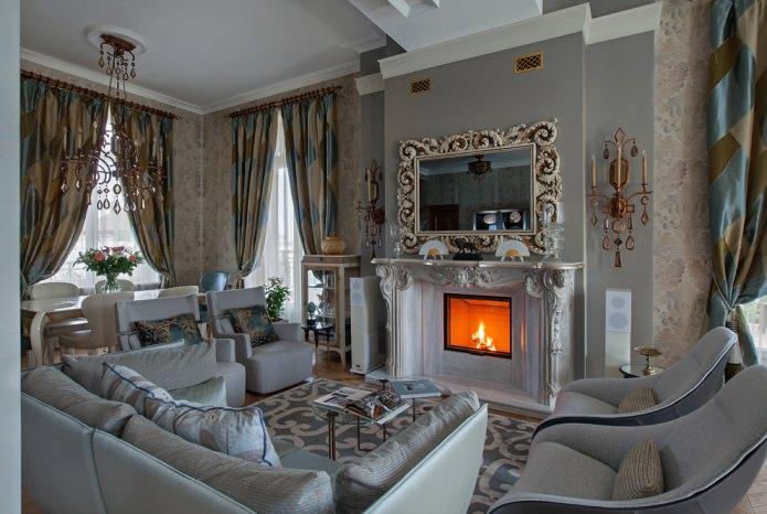 rideaux dans le salon dans le style classique