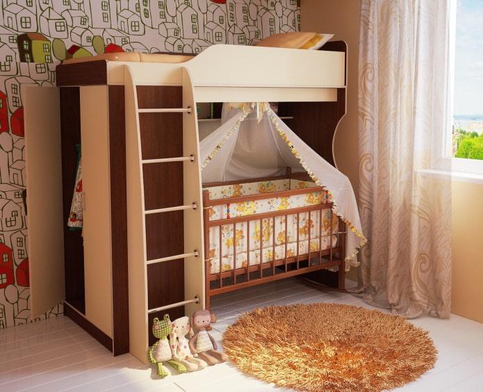 chambre d'enfant avec berceau pour nouveau-né