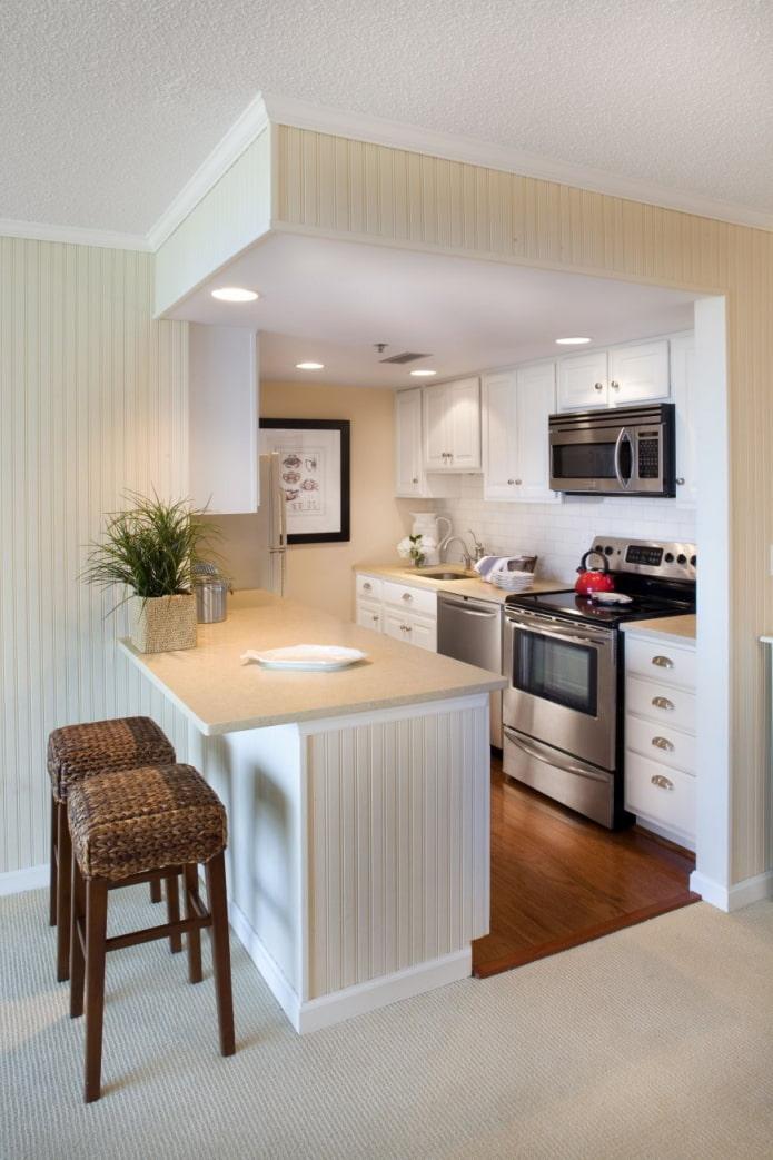 cuisine avec un comptoir de bar dans une niche à l'intérieur
