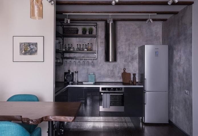 cuisine dans une niche sans fenêtre à l'intérieur