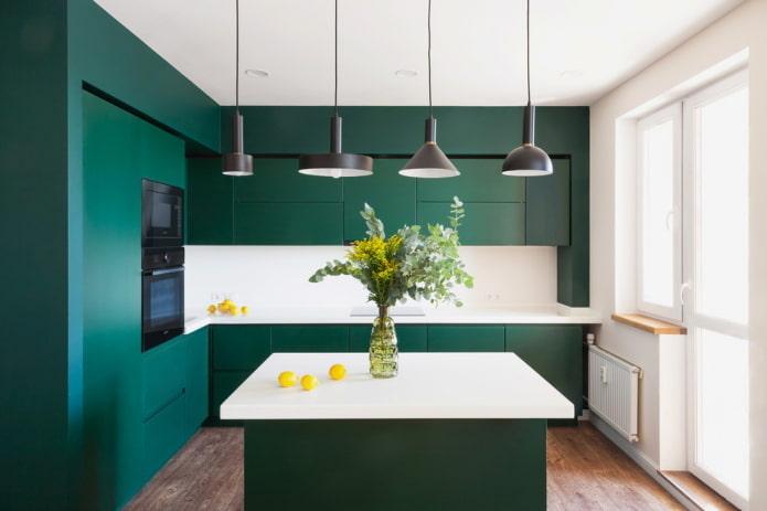 cuisine verte dans une niche à l'intérieur
