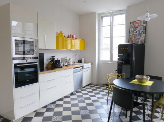 sol de cuisine noir et blanc