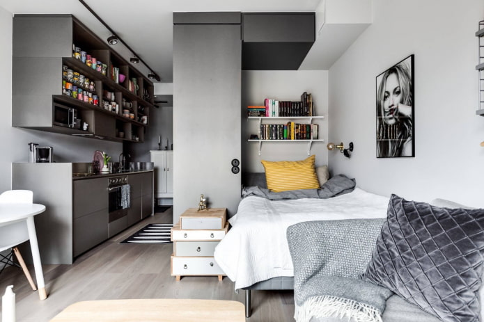Studio gris avec niche