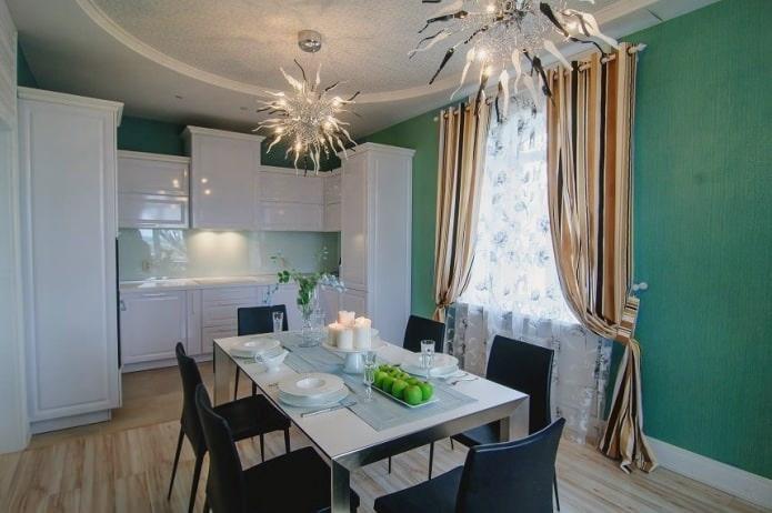 Rideaux de cuisine avec papier peint vert