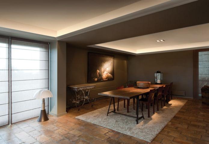 construction de plafond avec éclairage caché